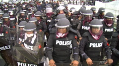 Riot Police in Full Combat Gear Confront Protesters Shields Body Armor Stock Footage