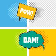 Comic template element with speech bubble halftone art Stock Illustration