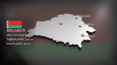 3D animated Map of Belarus Stock Footage