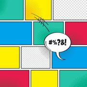 comic template element with speech bubble halftone art - stock illustration