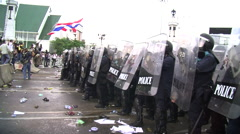 Riot Police Get Huddle Afraid Combat Gear Confront Protesters Shields Body Armor Stock Footage