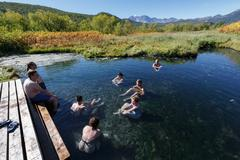 People take a therapeutic (medicinal) baths in hot springs - stock photo