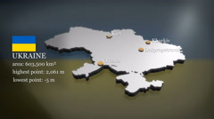 3D animated Map of Ukraine Stock Footage
