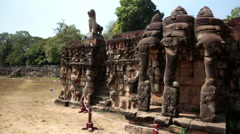 Angkor Thom, Terrace of elephants, Siem Reap, Cambodia - stock footage