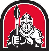 Knight Full Armor Holding Paint Brush Half Circle Retro Stock Illustration