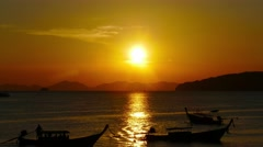 Landscape on the Ao Nang beach at sunset Stock Footage