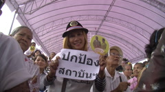 Thai Royalists Crowd Demonstration Yellow Shirt Protest Monarchist 9585  Stock Footage