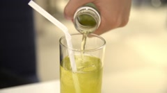 Unknwon male pouring non-sugar green tea Stock Footage