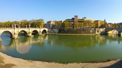 Timelapse view on the river Tiber in Rome Stock Footage