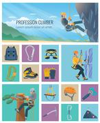Climber Icon Flat - stock illustration