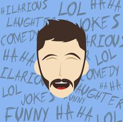 funny laughing guy - stock illustration