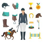 Jockey Icons Flat - stock illustration