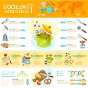 Cooking Infographics Flat Layout - stock illustration