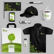 Decorative Elements Of Eco Corporate Identity Stock Illustration