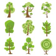 Tree Logo Cartoon Decorative Icons - stock illustration
