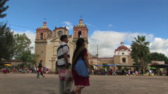 Spanish Colonial Church People Central Town Square Village Mexico 9569 Stock Footage