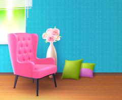 Pink Chair Realistic Interior Poster - stock illustration