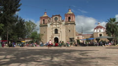 Spanish Colonial Church People Central Town Square Village Mexico 9568 Stock Footage