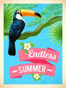 Toucan Bird Summer Vacation Flat Poster - stock illustration