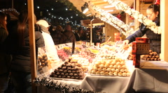 Budapest Christmas Market - Vorosmarty Square  Dec. 7 2015 - sweets and candies Stock Footage