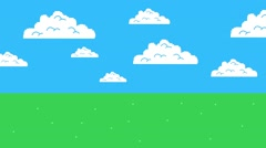 Old Retro Video Game Arcade Clouds Moving on a Blue Sky and Grass Stock Footage