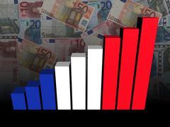 French flag bar chart over euros illustration - stock illustration