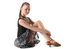 Girl in dress for ballroom dancing sitting Stock Photos