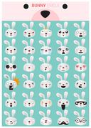 Bunny emoji icons Stock Illustration