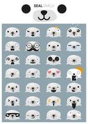 Seal emoji icons - stock illustration
