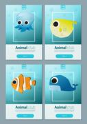 Set of sea animal templates for web design - stock illustration