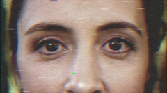 4k - Beautiful woman eyes VHS effect with distortion Stock Footage