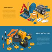 Car Service Tools Isometric Banner Set Stock Illustration