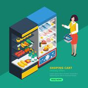 Isometric Supermarket Interior - stock illustration