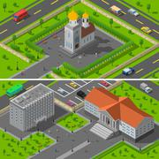 Church State Edifice Isometric 2 Banners Stock Illustration
