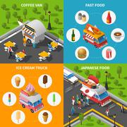 Street Food Concept Icons Set - stock illustration