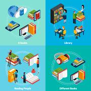 Library Isometric 2x2 Compositions Stock Illustration