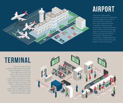 Airport Isometric Horizontal Banners - stock illustration