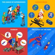 Superhero Concept Isometric Icons Set - stock illustration