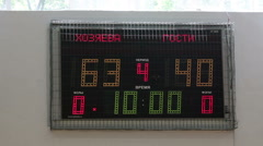 Basketball. On the scoreboard changes digits. Fourth period starts. - stock footage