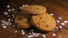 Oatmeal Cookies with chocolate chips Stock Footage