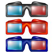 Set of Colorful Glasses for Watching Movies - stock illustration