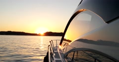 Luxury motor yacht at sunset, motoryacht, Stock Footage