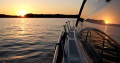 Luxury motor yacht at sunset, motoryacht, Stock Footage