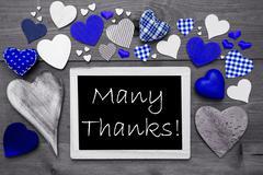 Chalkbord With Blue Hearts, Many Thanks - stock photo