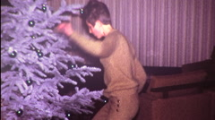 Dancing Christmas Tree BIG HAIR Young Woman 1960s Vintage Film Home Movie 9538 Stock Footage