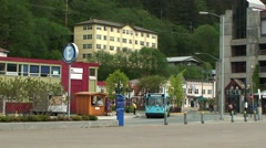 Blue Bus in Alaskan Capital City Stock Footage