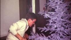 Dancing Around Christmas Tree Man Woman BIG HAIR Vintage Film Home Movie 9537 Arkistovideo
