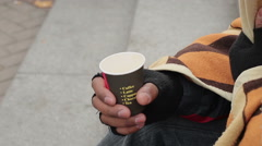 Caring people giving money to homeless beggar man, poverty, depression, charity Stock Footage
