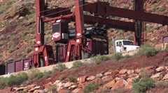 Crane transferring cargo, Moab, Utah Super Fund Clean up Stock Footage