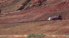 Train waiting for cargo, Moab, Utah Super Fund Clean up Stock Footage
